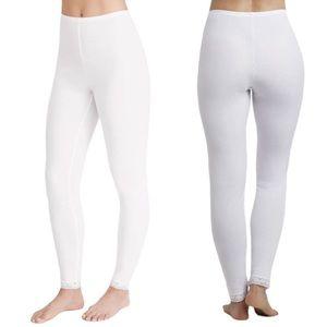 Cuddle Duds Softwear Lace Edge White Leggings 1X